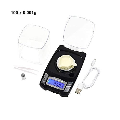 Digitale Milligramm Waage 100 g x 0,001 g Schmuckwaage Digitale Taschen Milligramm Waage mit Windschutz, Kalibriergewichten, Waagschale, Pinzette, Ladekabel Waagschale