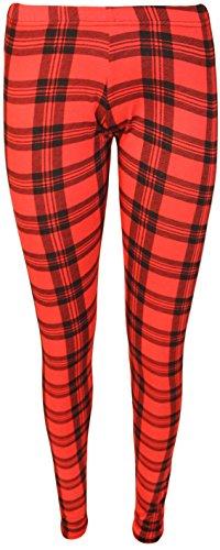 WearAll - Écossais imprimé long leggings - Pantalons - Femmes - Tailles 36 à 42 Rouge