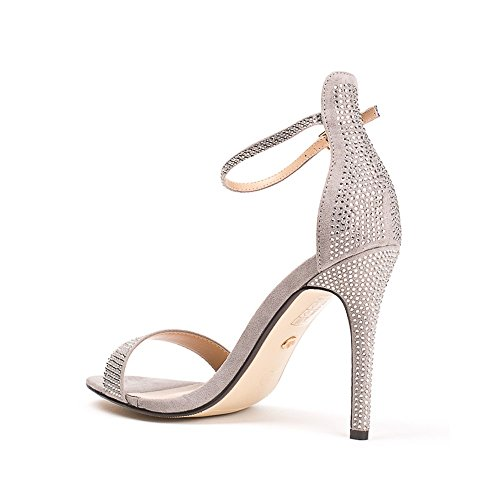 Ideal Shoes - Sandales à talon effet daim ornées de strass Sabiana Gris