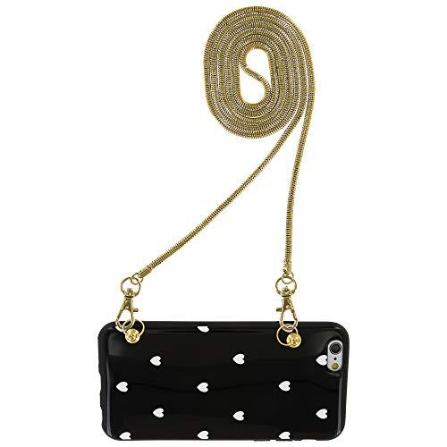 Fashion-Case Schutzhülle Softcase mit Kette Chain Handykette Strap Handtasche Schulterriemen für iPhone 6 6S 7 8 Plus (iPhone 6 Plus/6S Plus, Schwarz I Herzchen weiß 1)