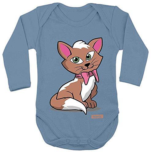 Kleinkind Kätzchen Kostüm Süße - HARIZ Baby Body Langarm Kätzchen Schleife Tiere Kindergarten Plus Geschenkkarten Himmel Hell Blau 62-68