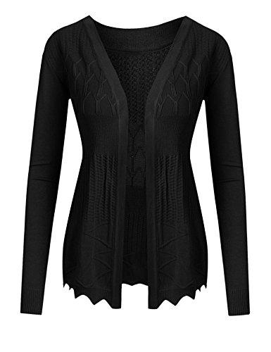 cooshional Damen Strickjacke Shirtjacke Jacke Sweat-Cardigan Lang Langarm     M/EU(36),    Schwarz (Langarm-knopf-front-shirt)