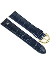 Maurice Lacroix Louisiana Optik Ersatzband Uhrenarmband Kalbsleder Blau 21070G, Stegbreite:14mm