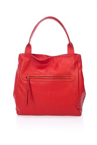 Laura Moretti - Borsa Dollaro con tasca esterna (stile TOTE) Rosso