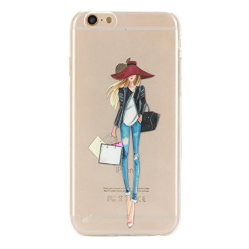 Ukayfe Custodia per iPhone 6/6S plus,Ultra Slim TPU Gel Gomma Silicone Copertura Case per iPhone 6/6S plus,Moda Serie Pattern Back Cover Crystal Skin Custodia Stilosa custodia di design Protettiva She Shopping Girl