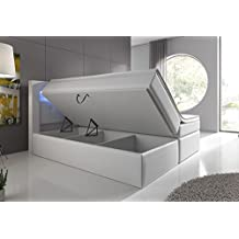 Boxspringbett 160x200 Weiß mit Bettkasten LED Kopflicht Hotelbett Venedig Lift