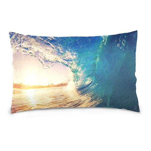 Hectwya Sunrise Sea Wave Tropical Island Atoll Nature Cotton Lint Pillow Case,Cover with Zipper Pillowcase Twice Sides Printing Size 20'x30',for Bedroom Living Room