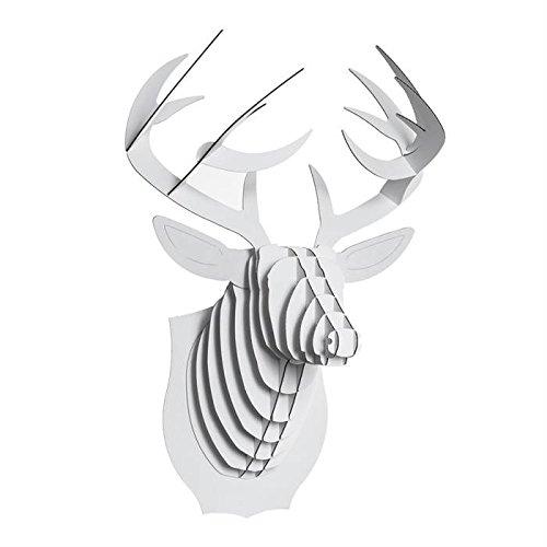 Preisvergleich Produktbild CARDBOARD SAFARI 3D WANDBILD TIERKOPF TROPHÄE MEDIUM Tier Geweih in weiss Buck der Hirsch