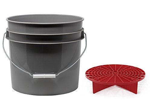 detailmate Set aus US Made Wash Bucket Wasch Eimer 3,5 Gallonen (12,5 Liter) grau Grit Guard Eimer Einsatz rot