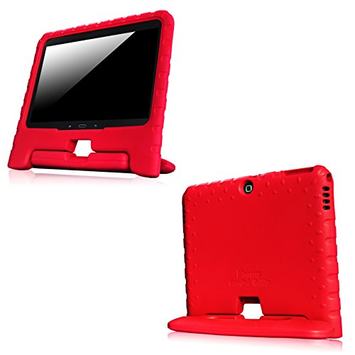 Fintie Samsung Galaxy Tab 4 10.1 Kinder Hülle - Ultra-leichte, stoßfeste und kinderfreundliche EVA Ständer Schutzhülle Tasche Case Cover mit Drehbar Handgriff für Samsung Galaxy Tab 4 10.1 SM-T530 SM-T535 Tablet, Rot