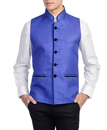 Wintage Men's Rayon Bandhgala Festive Blue Nehru Jacket Waistcoat