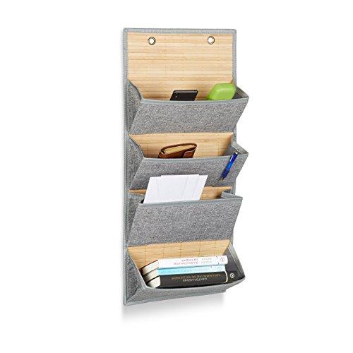 Relaxdays Wandorganizer Bambus mit 4 Jutemuster Fächer, 75 x 34 x 12 cm HxBxT Zeitungshalter für Büro und Flur, grau