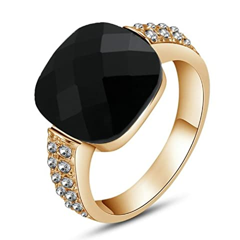 Yoursfs Classy Onyx Cocktail Party Rings Diamante Wedding Rings for