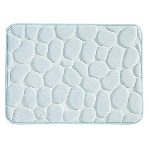 MetroDecor mDesign Duschmatte – Nicht-rutschende Matte für Badewanne und Duschkabine – kleine Badmatte aus weichem Schaumstoff im Kieselsteinlook – hellblau