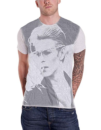 David Bowie Shirt Smoking Pose Wild Profile Official Mens White Sub Dye