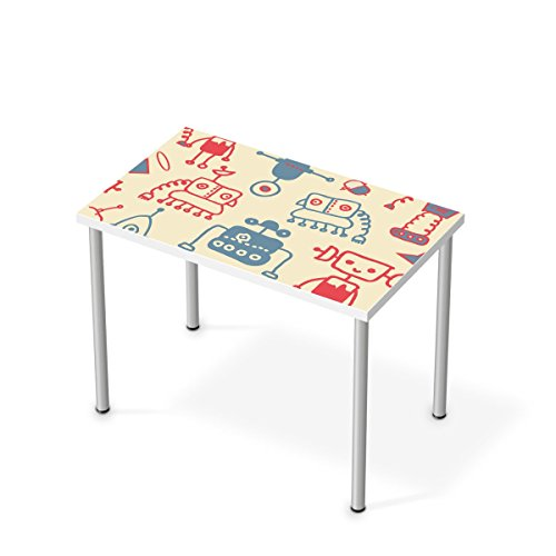 Möbel-Aufkleber Folie für IKEA Linnmon Tisch 100x60 cm | Sticker Kinder-Zimmer dekorieren | Wohnideen IKEA Möbel für Kinder-Zimmer Dekor | Kids Kinder Crazy Robots