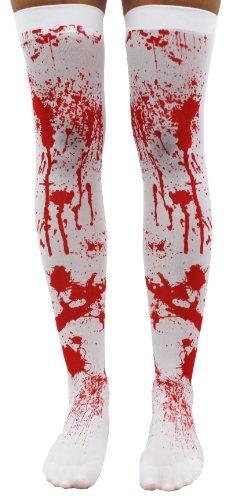 Damen-Strümpfe mit Blutspritzer-Optik, für Halloween, weiß, Oberschenkelhohe Strumpfwaren, selbsthaltend, Einheitsgröße, von (Halloween Zubehör Strumpfhose)