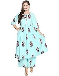 Ishin Cotton Blue Printed Anarkali Calf Length 3/4th Sleeves Women's Kurta & Palazzos Set