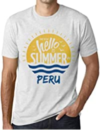 Hombre Camiseta Vintage T-Shirt Gráfico Time To Say Hello To Summer In Peru Blanco