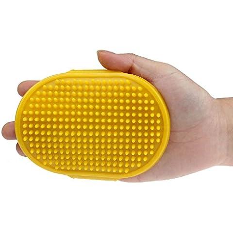 Pettine di Pelliccia per Animale Domestico ,Ouneed® Pet Pulizia Bagno Ovale Spazzola di Massaggio del Pettine della Spazzola con la Cinghia Regolabile ,12cm*8.5cm (Giallo)