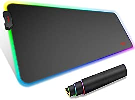 havit RGB-muismat 800 * 300 * 4 mm bureaumat XXL gaming-muismat met antislip rubberen basis voor computer, pc, laplop