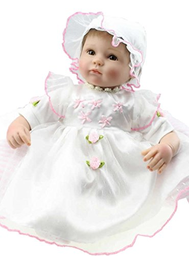 Stoffkörper 17 Zoll 43 cm Handarbeit wieder geboren Babypuppe weichen Silikon-Mädchen Babys Geburtstag mit weißen Kleid Kinder Neugeborenen Weihnachtsgeschenk (Kleider Kleine Mädchen Suchen)