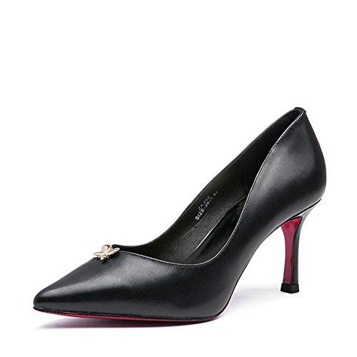 Lady primavera semplice superficiale punta high heels/Scarpe a spillo rosso-B Lunghezza piede=21.8CM(8.6Inch)