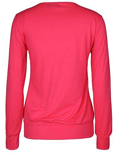 WanYang Femmes Débardeur Col Rond T-shirt Manches Longues Blouse à Paillettes Motif Haut Top Rouge