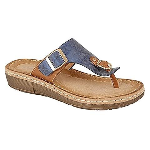 Boulevard Womens/Ladies Buckle Toe Post Mule Sandals (3 UK) (Blue/Tan)