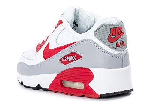 Nike Air Max 90 Mesh (Ps), Chaussures de Course Garçon Blanco (White / University Red-Wolf Grey-Black)