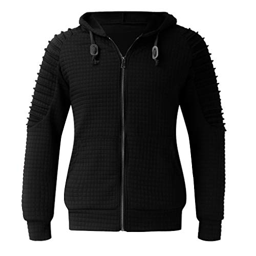 Xmiral Herren Sweatshirt Top Herbst Langarm Plaid Hoodie Mit Kapuze T-Shirt Outwear (3XL, X Schwarz) -