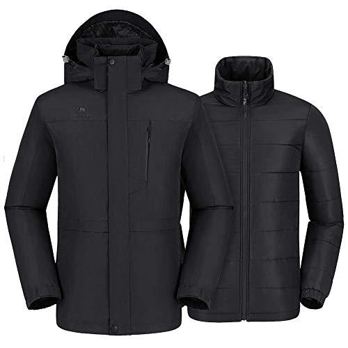 CAMEL CROWN Men's 3 in 1 Ski Jacket with Detachable Liner, Waterproof Jacket Windproof Warm Winter...