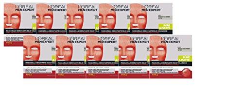 L'Oréal Paris Men Expert Mascarilla Hidratante Rojo Volcánico para Pieles con Imperfecciones, Pack de 10 x 30 g