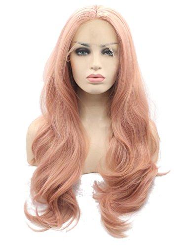 �rlich Aussehende Fashion klebefreien Pink Lace Front Ersatz Perücken Lang Welle Gelockt Hohe Qualität hitzebeständig Kunsthaar Mitte, realistische Haaransatz (Machen Sie Ein Kostüm In 10 Minuten)