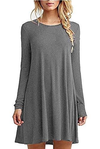 ZIOOER Damen Sommerkleider Kleider Casual MiniKleid Langes Shirt Lose Freizeitkleider Tunika Langarm Tshirt Kleid Abendkleid Grau L (Für Frauen Shirt Langarm Kleid)