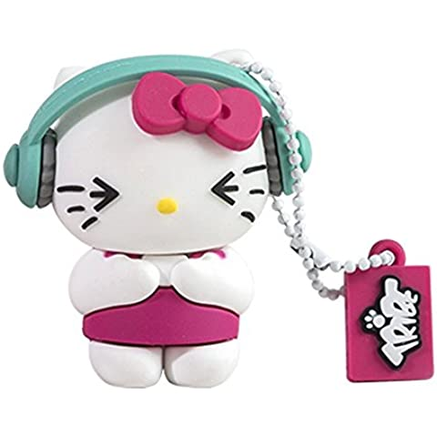 Tribe Hello Kitty Pendrive - Memoria USB Flash Drive 2.0, de goma, de 8 GB con llavero, diseño DJ