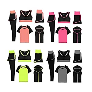 Yves25Tate Sport Yoga Trainingsanzug, Strech Tights Mode 5 Stück Set, Sweat-Proof Schnell Trocknend, Für Fitness Sport Laufen