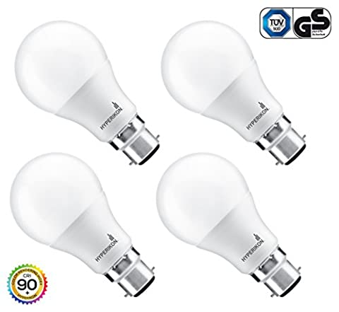 Hyperikon B22 Bayonet LED Light Bulb - 9W=60W - Warm White - GS Approved/Durable GLS Bulb - CRI90+ - Non-Dimmable - 4