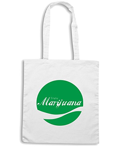 T-Shirtshock - Borsa Shopping ENJOY0063 Enjoy Marijuana Bianco