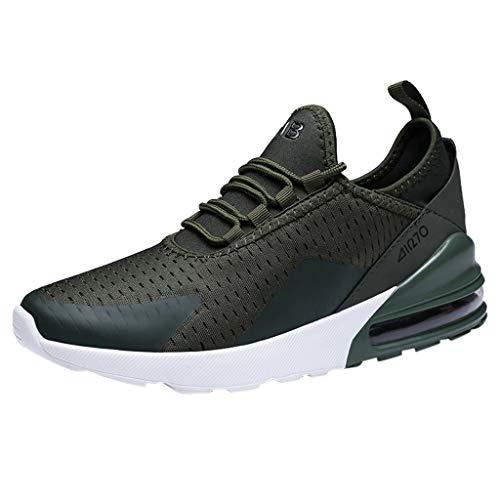 COZOCO Herren Sneakers Mesh Ultraleichte, atmungsaktive, sportliche Laufschuhe(grün,44 EU)
