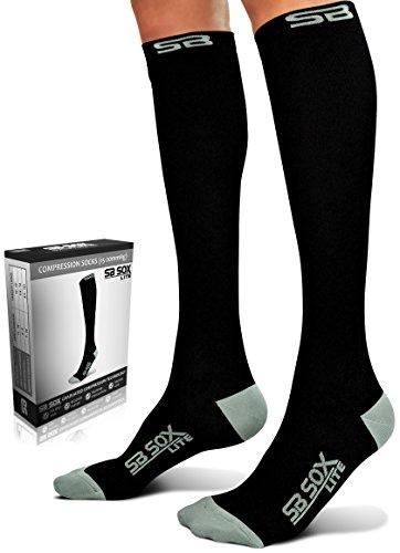 Calcetines de compresión SB Sox de 15 a 20mmHg para hombres y mujeres los mejores calcetines para correr, médicos, atletas, edemas, diabetes, varices, viajes, embarazo - all-season, S/M, Negro/Gris