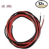 Ycnk 18AWG Calibre câble silicone 3,7m souple et flexible en cuivre Fil électrique résistant aux températures élevées (2m Noir et rouge 2m)