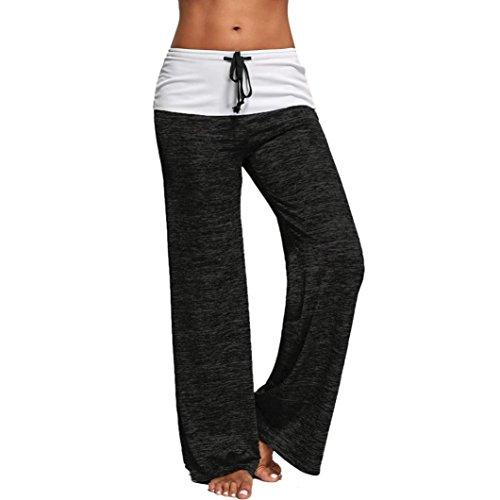 Italily - cuffia donna gamba larga a vita alta lungamente allentato pantaloni casual pantaloni di yoga (m-xxl) (xl, nero)