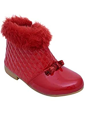 D'chica Baby Deep Red Fur Trimmings Boots for Girls First Walking Shoes