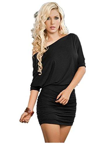 e Sexy Schulter Kleid Erotische Transparent Nachtwäsche mit G-String Club-Reizwäsche (Schwarz) (Plus Size Club Sieht)