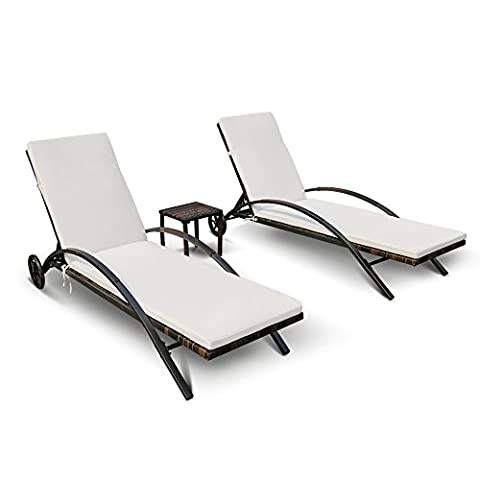 iKayaa 3pcs Rattan Sun Lounger Set with Side Table Recliner Chairs Patio Chaise Lounge Chair Set Furniture Adjustable Back