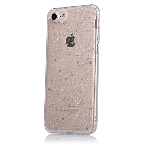JAWSEU iPhone 7 Plus Coque Transparent Glitter,iPhone 7 Plus Plus Etui en Silicone Clair avec Pailletee,Brilliante Bling ¨¦toile Soft Tpu Case Cover,Ultra Slim Sparkle Scintillant Flexible Souple Gel  star/transparent