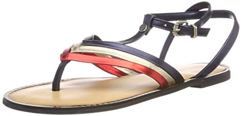 Tommy Hilfiger Damen Corporate Flat T-bar T-Spangen Sandalen