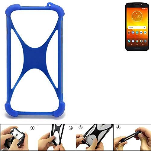 K-S-Trade Bumper Motorola Moto E5 Dual SIM Silikon Schutz Hülle Handyhülle Silikoncase Softcase Cover Case Stoßschutz, blau (1x)