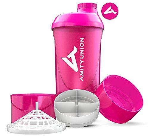 Frauen Protein Shaker 700 ml Set - ORIGINAL von AMITYUNION - Deluxe Eiweiss Shaker auslaufsicher - BPA frei mit Sieb und Skala für Cremige Whey Shakes, Gym Fitness Becher für Konzentrate in Pink Cup Logo Shaker Set